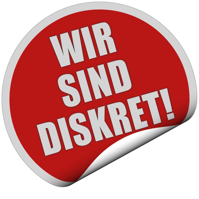 Sticker rot rund curl unten WIR SIND DISKRET!